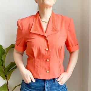 Vtg Joseph Ribkoff Red Crop Top Blazer Size M
